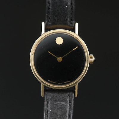 14K Movado Zenith Museum Stem Wind Wristwatch