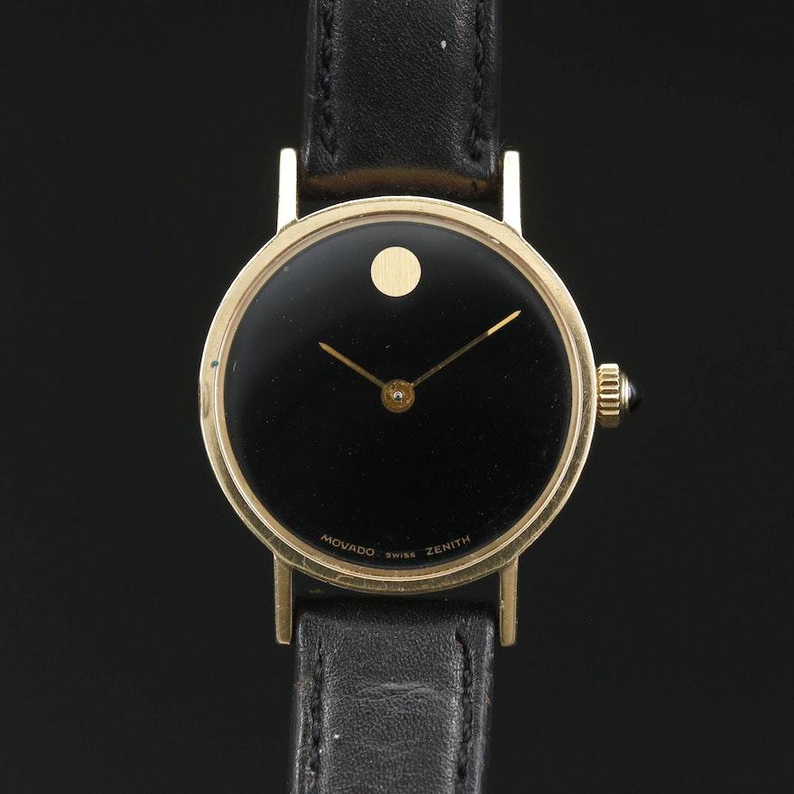 14K Movado Zenith Museum Stem Wind Wristwatch