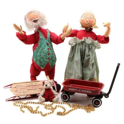 Annalee Mobilitee Santa and Mrs. Claus Dolls, 1965 with Christmas Props