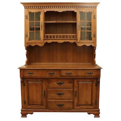 "Tell City ""Young Republic"" American Colonial Two Piece Maple Hutch"