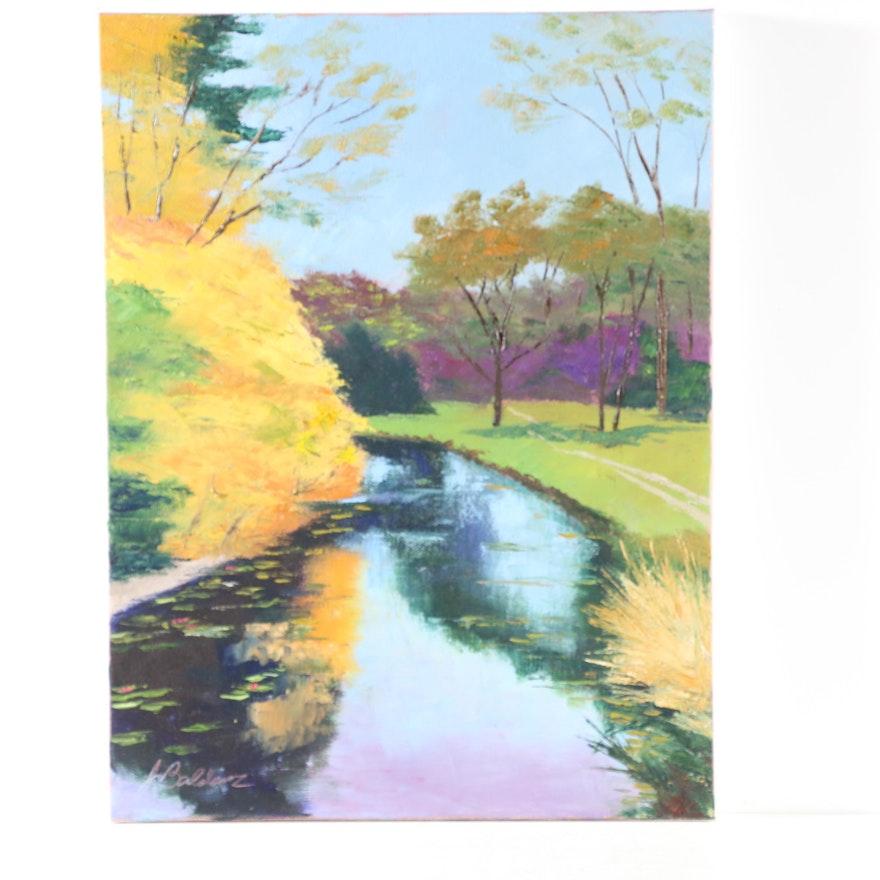 "James Baldoumas Oil Painting ""Autumn Stream"", 2020"