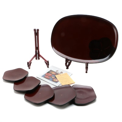 Gold Craft Japanese Lacquerware Serving Tray and Plates