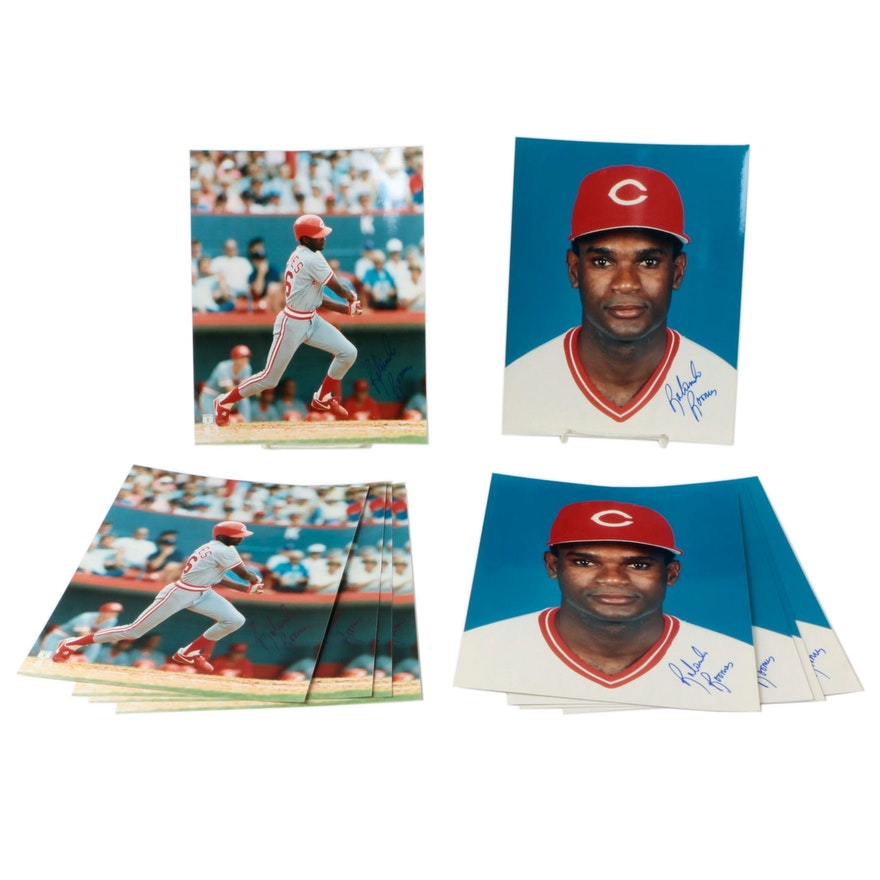 1990s Rolando Roomes Signed Cincinnati Reds Photo Prints