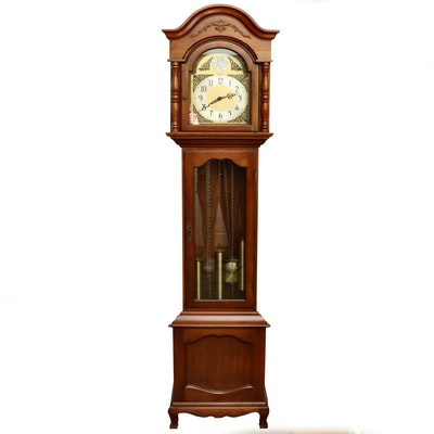 "Mahogany Herschede ""D'Orsay"" Tempus Fugit Grandmother Clock, Vintage"