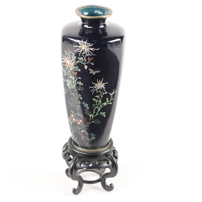 Japanese Chrysanthemum Cloisonné Vase on Attached Stand, Mid to Late 20th C