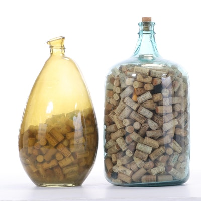 Yellow and Blue Glass Bottles with Wine Cork Collections