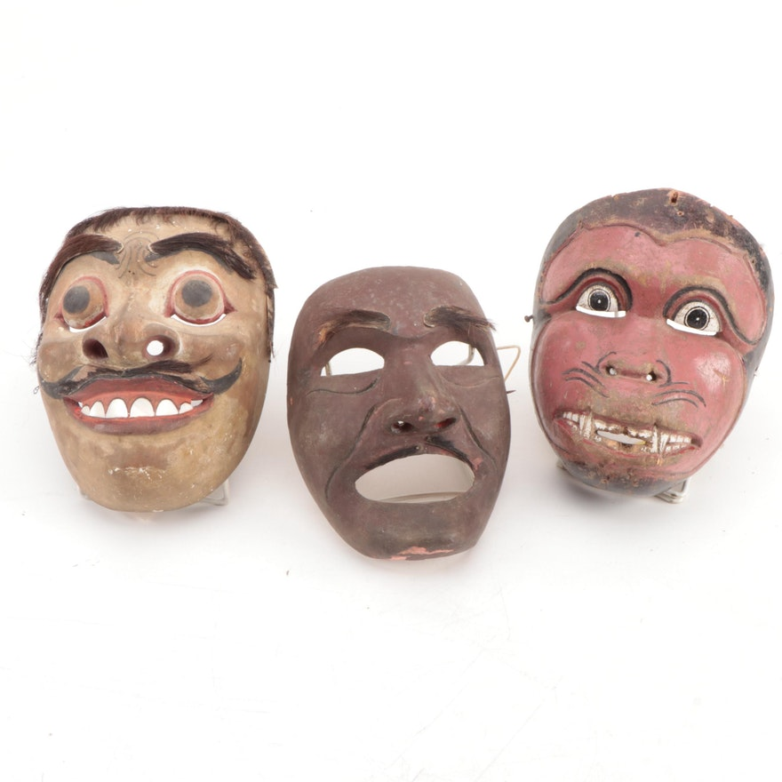 Javanese Polychrome Wood Topeng Dance Masks, Indonesia