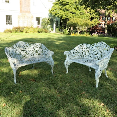 "Kramer Brothers Foundry Wrought Iron ""Passion Flower"" Garden Benches"