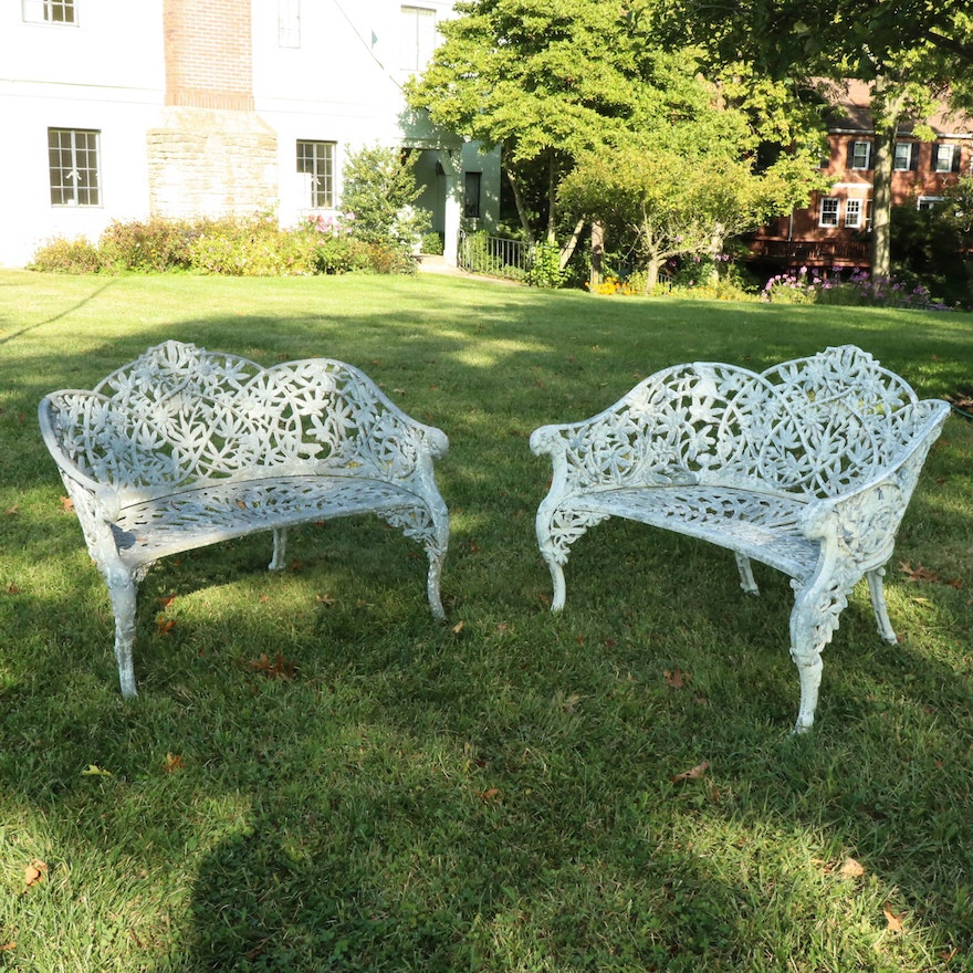 """Kramer Brothers Foundry Wrought Iron """"Passion Flower"""" Garden Benches"""