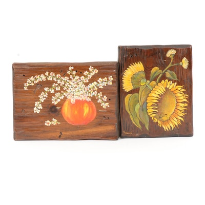 Floral Acrylic Paintings on Distressed Wood Panels, Late 20th Century