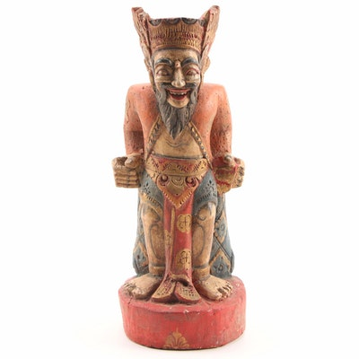 Balinese Polychromatic Hand-Carved Wooden Deity