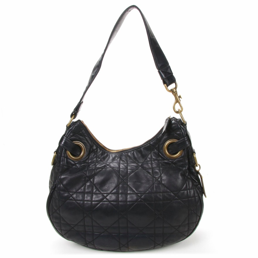 Christian Dior Hobo Shoulder Bag in Quilted Black Leather