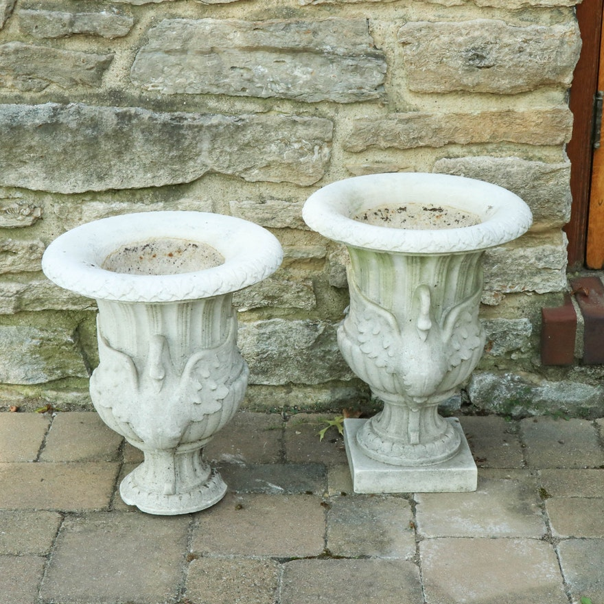 Pairing of Cast Concrete Urn Planters with Swan Decoration, 20th Century