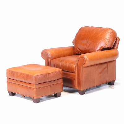 Hancock & Moore Brown Leather Club Chair and Ottoman