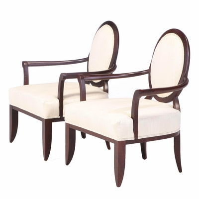 Pair of Contemporary Custom-Upholstered Beech Armchairs
