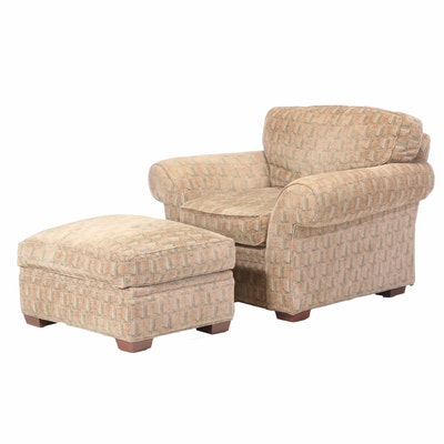 Henredon Upholstered Club Chair and Ottoman