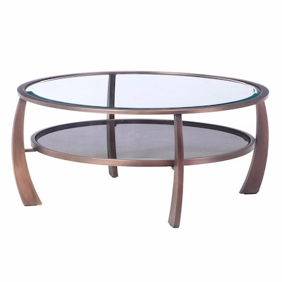 Contemporary Patinated Metal and Glass Top Two-Tier Coffee Table