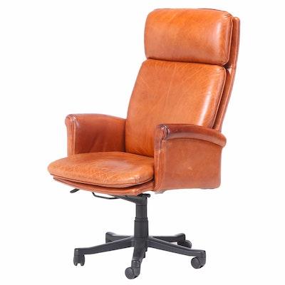 Hancock & Moore Brown Leather Swivel-Tilt Adjustable Desk Chair