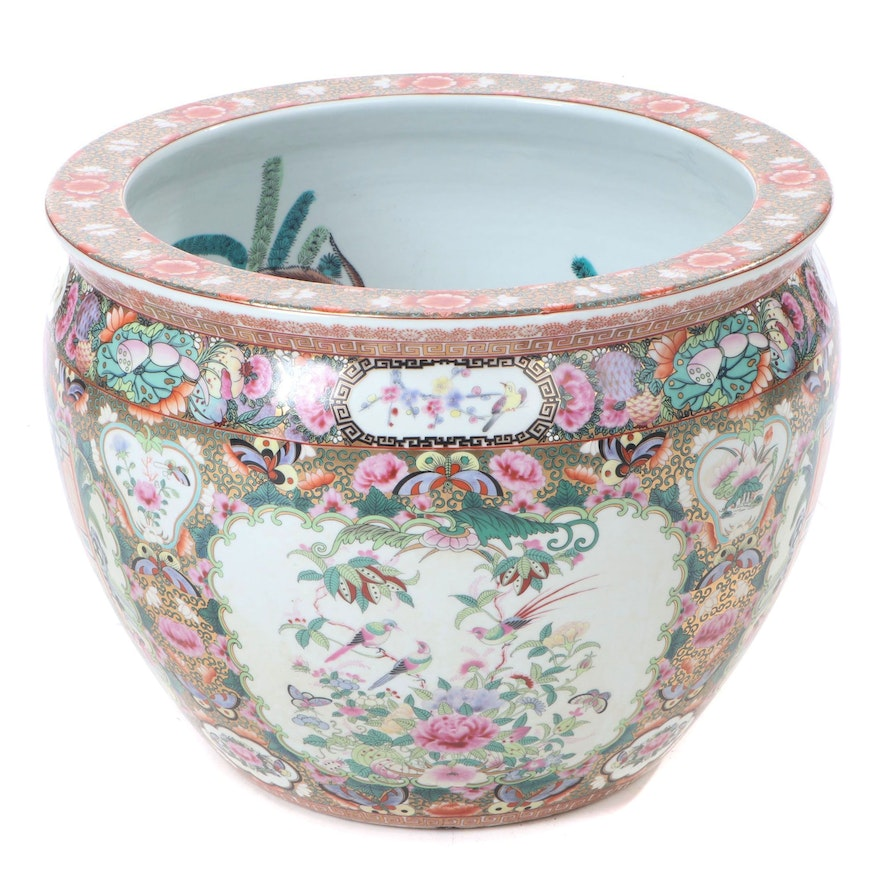 Chinese Rose Medallion Ceramic Fish Bowl Planter, Contemporary