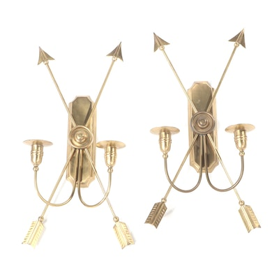 Pair of Neoclassical Style Brass Crossed Arrow Candle Sconces