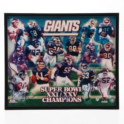 New York Giants Signed Super Bowl Champions XXI/XXV Poster, PSA COA