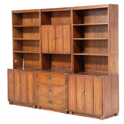 """Three Drexel """"Oxford Square"""" Campaign Style Stenciled Oak Bookcases, circa 1970"""