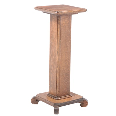 American Empire Revival Oak Pedestal, Early 20th Century