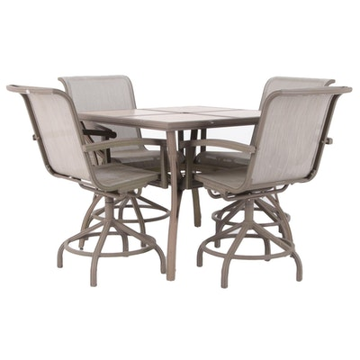 Tile Top Metal Patio Dining Set, Late 20th Century