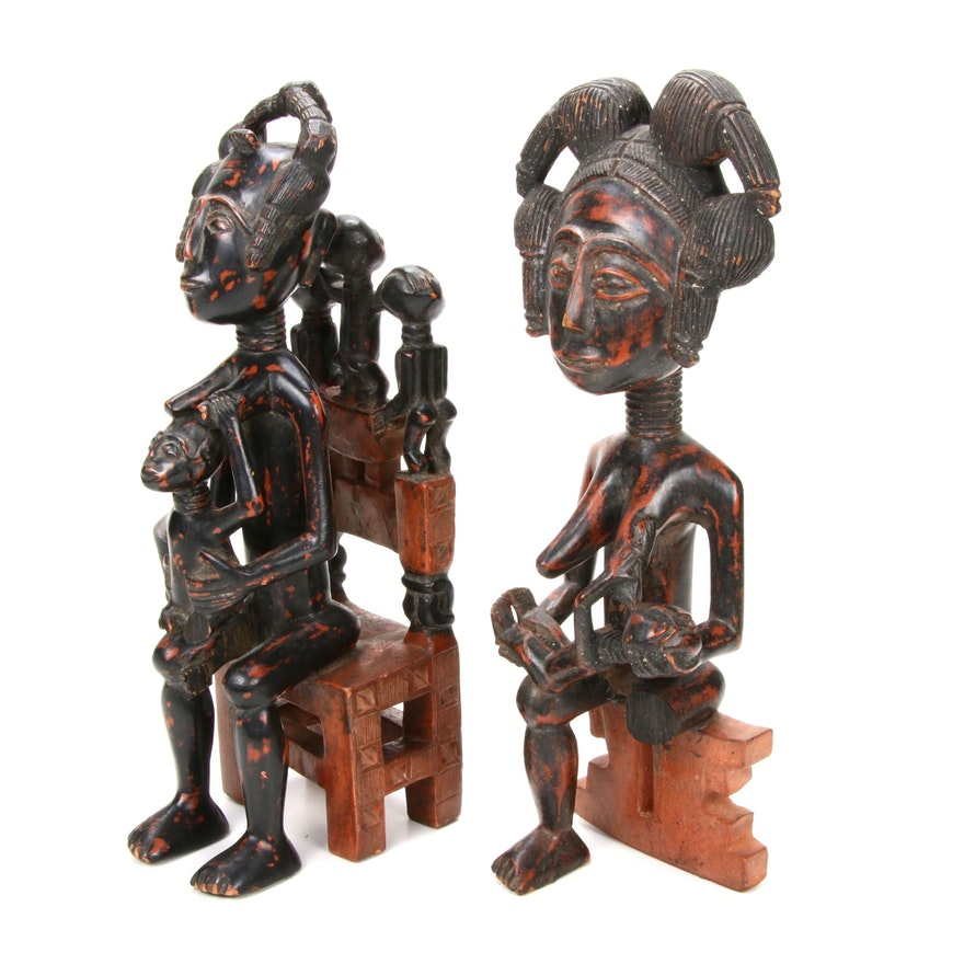Baule Style Carved Wood Maternity Figures, Côte d'Ivoire