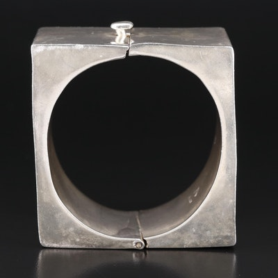 Mexican Sterling Silver Square Hinged Bangle