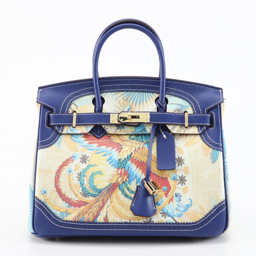 Two-Way Structured Satchel in Neoclassical Inspired Printed Leather
