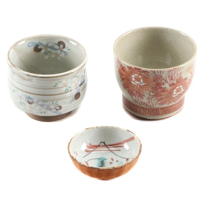 Japanese Hand-Painted Earthenware Teacups and Condiment Bowl