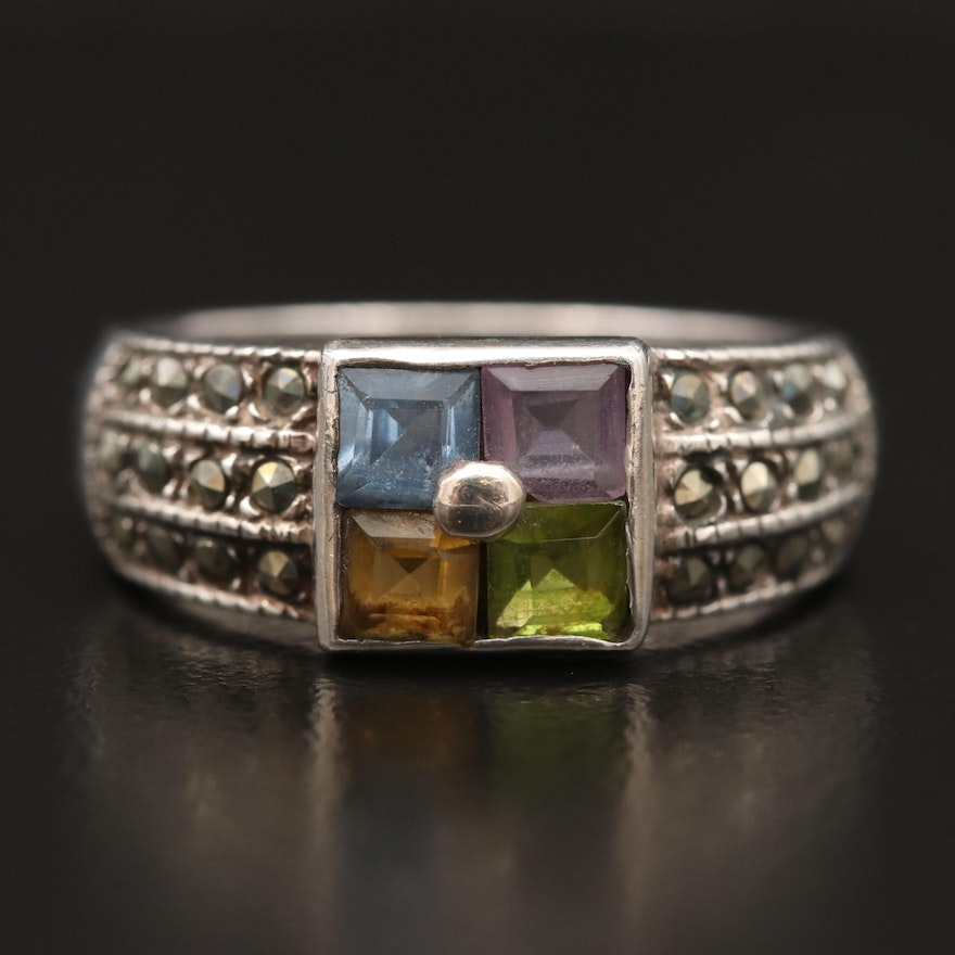 Sterling Silver Amethyst, Marcasite and Spinel Ring