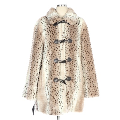 Pamela McCoy Spotted Faux Fur Coat with Layered Texture
