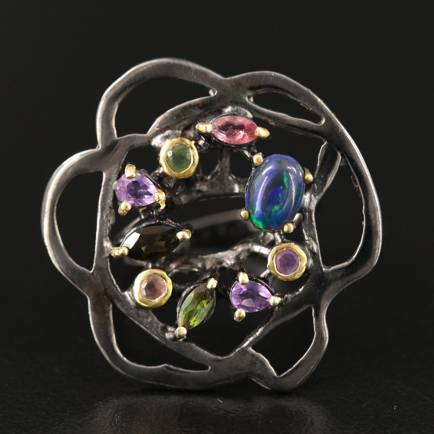 Sterling Silver Freeform Ring Featuring Opal, Amethyst and Smoky Quartz