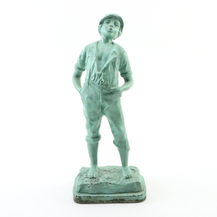Whistling Boy Enameled Cast Iron Statuette, Mid to Late 20th Century