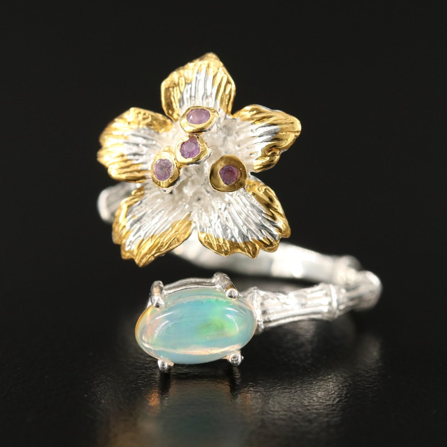 Sterling Silver Opal and Amethyst Floral Bypass Ring
