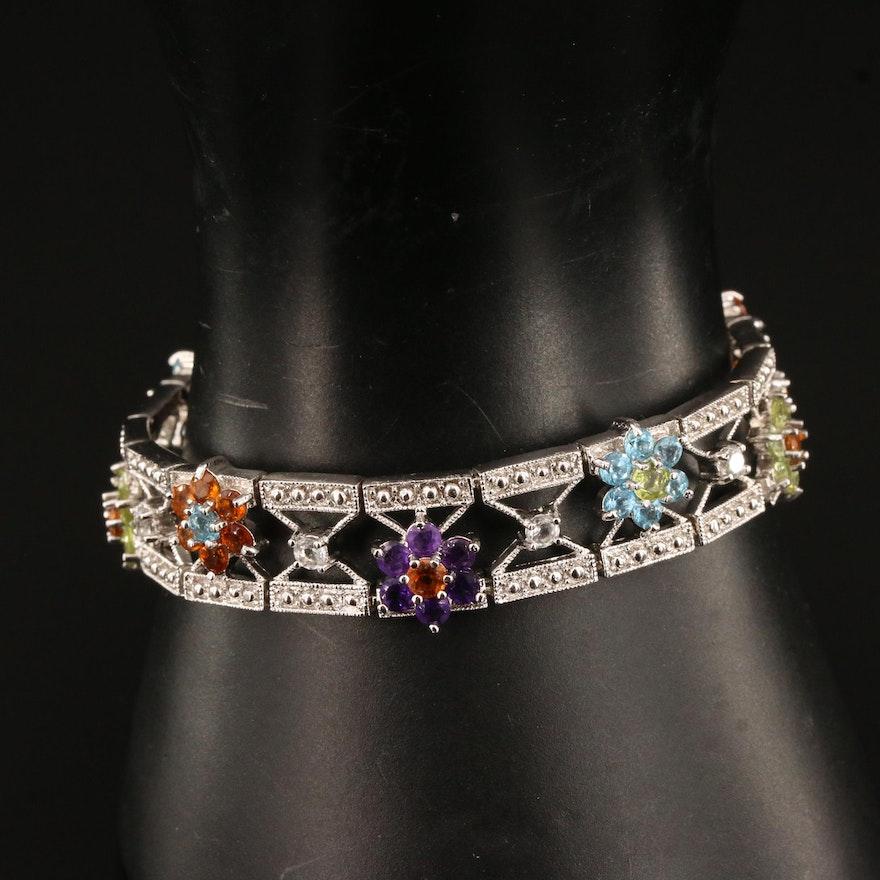 Sterling Silver Gemstone Bracelet Featuring Floral Openwork Design