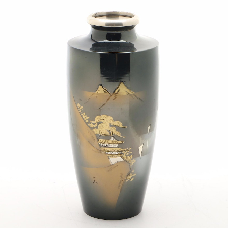 Japanese Metal Etched Vase with Scenic Mountain View Motif