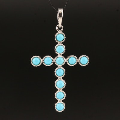 Sterling Turquoise Cross Enhancer Pendant
