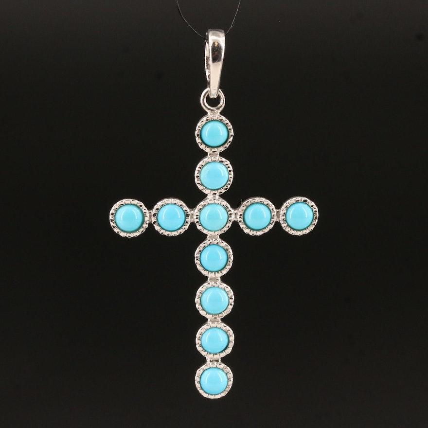 Sterling Turquoise Cross Enhancer Pendant