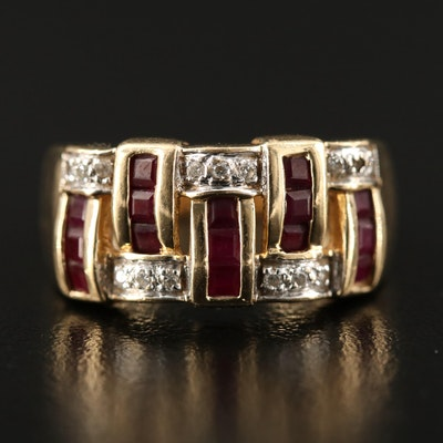 14K Diamond and Ruby Woven Pattern Motif Ring