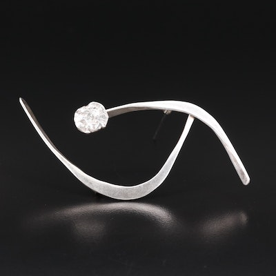 Abstract Sterling Silver Brooch