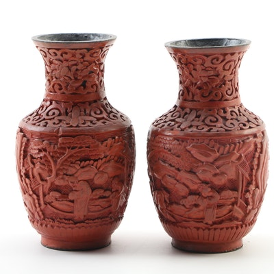 Pair of Chinese Cinnabar Hand Carved Vases, 20th Century