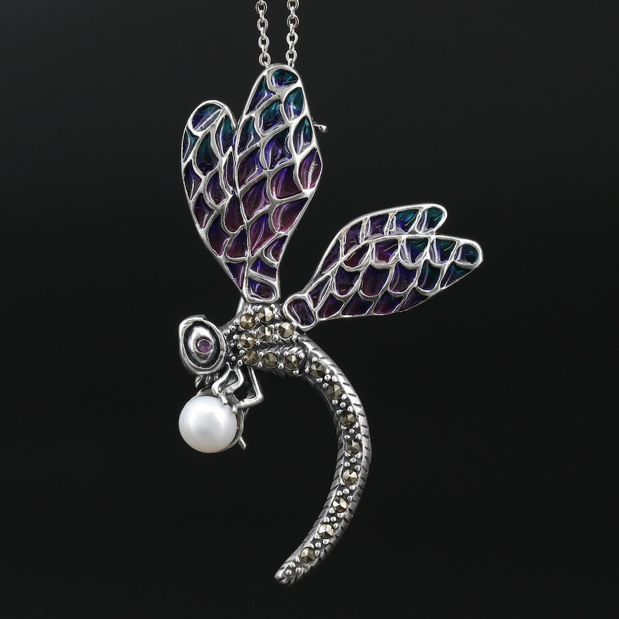 Sterling Silver Pearl Dragonfly Pendant Necklace Featuring Plique-a-Jour Enamel