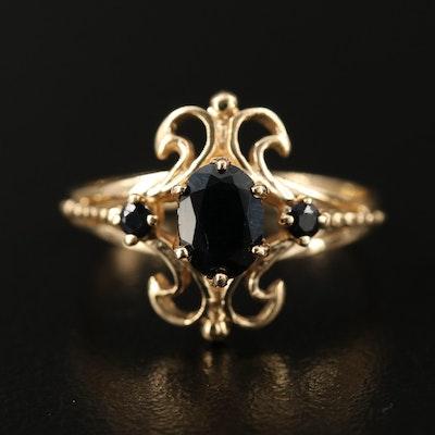 British 14K Sapphire Ring with Heraldic Motif