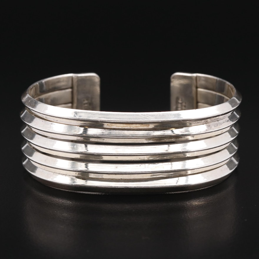 Mexican Sterling Silver Ridged Cuff