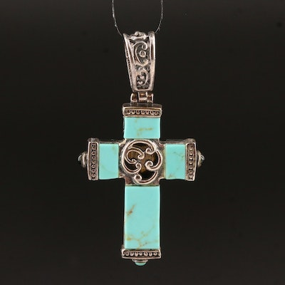 Sterling Silver Mother of Pearl Heart, Black Onyx and Turquoise Cross Pendant