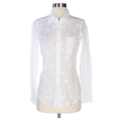 Chanel Appliquéd and Embroidered Long-Sleeve White Cotton Blouse