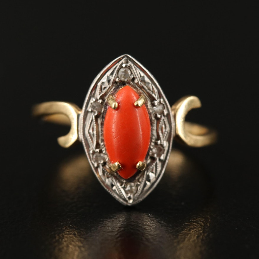 Vintage 18K Coral and Diamond Oval Ring